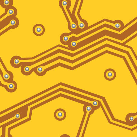 Yellow computer board. Seamless vector.