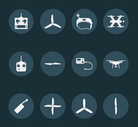 Set von weißen Quadrocopter Icons Standard-Bild - 70793094