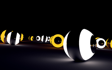rende: White and orange glowing glossy balls on black surface. 3D rende