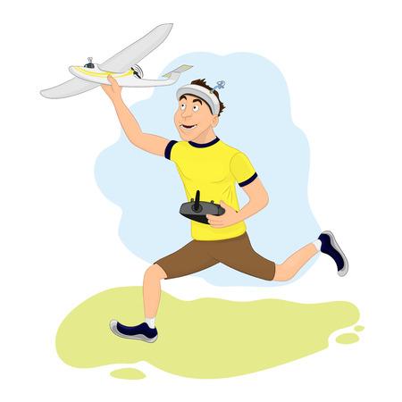 Glücklicher FPV-Pilot startet sein Flugzeug Standard-Bild - 79018371