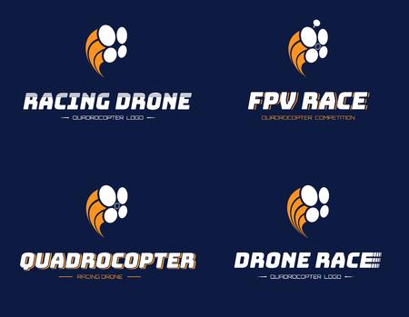Set Renn-Quadrocopter-Logo Standard-Bild - 79085011