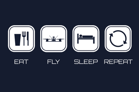 Eat Fly Sleep Repeat Icons. Funny schedule for racing quadrocopt