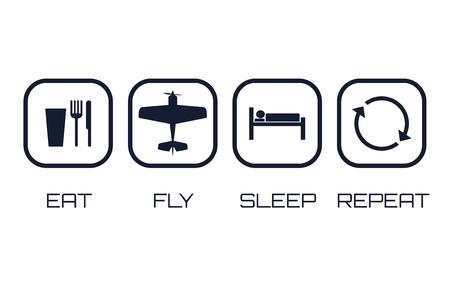 Eet Fly Sleep Repeat Pictogrammen op een witte achtergrond.