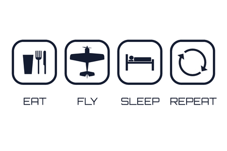 Eat Fly Sleep Repeat Icons on white background. Illustration