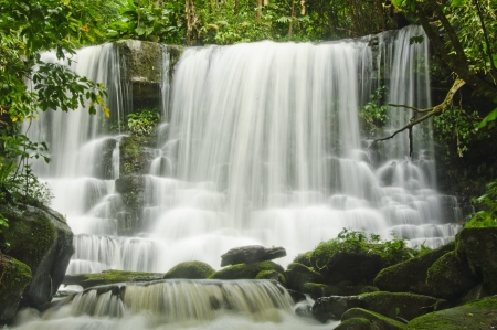 hydrology: A waterfall (in Thailand)is a place where water flows over a vertical drop in the course of a stream or river.
