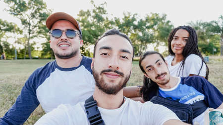 People Group Take Selfie Photo Over Beautiful Mountain Landscape, Trekking In Forest, Mix Race Young Men And Women Happy Smiling On Hike Tourists Adventure Activity