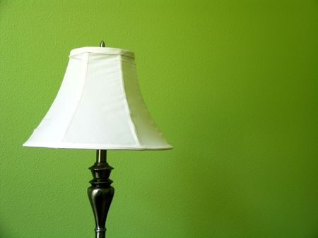 White Lamp on a Green Wall