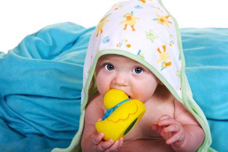 baby with bathtub stuff