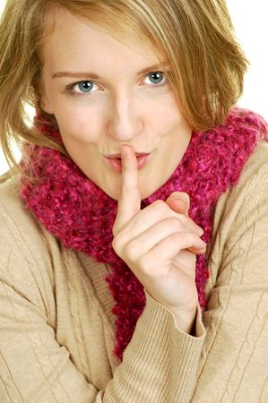blond woman saying hush Stock Photo