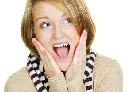 blond woman looking very surprised