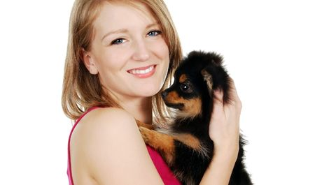 Cute Blond Woman with her Pomeranian