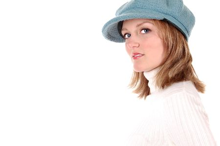 Serious Blond Model in a Blue Hat photo