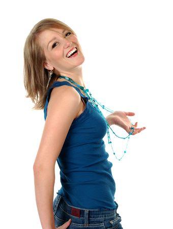 Happy Blond Woman Wearing Blue