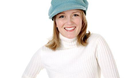 Cute Blond Model in a Blue Hat