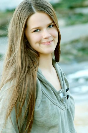 young happy brunette girl Stock Photo - 4056434