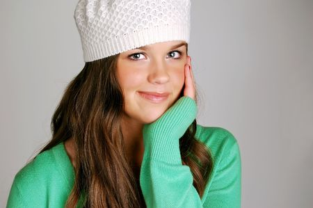 young happy brunette girl photo