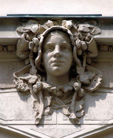 Art Nouveau sculpture on the wall in Prague, Czech Republic Stock Photo