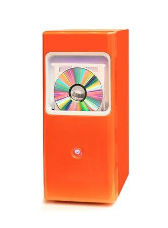 Orange desktop computer isolated on white background photo
