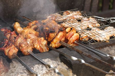 Meat roast and chicken barbecue photo
