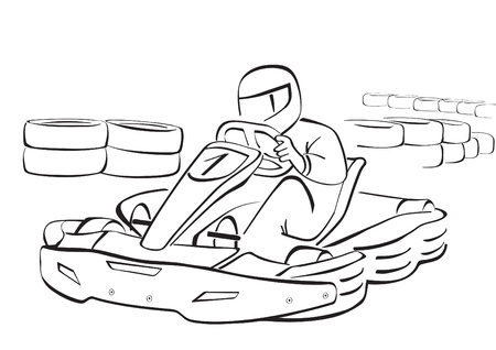 Go kart, black and white illustration