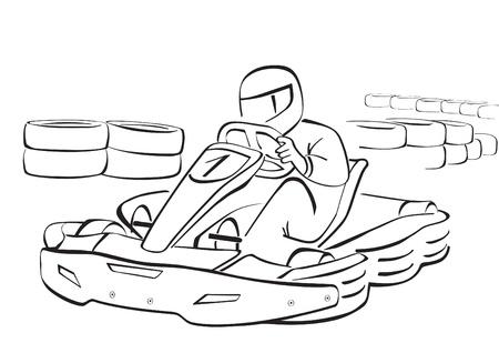 carting: Go Kart, la ilustraci�n en blanco y negro Vectores