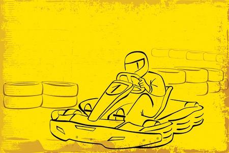 adrenaline: go kart achtergrond Stock Illustratie