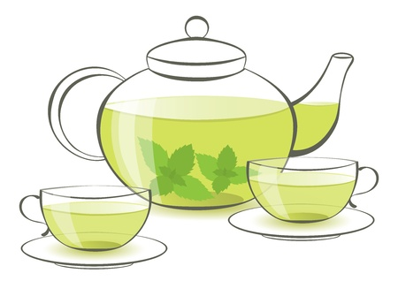 healthful: teapot and two cups of mint tea Illustration