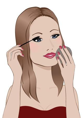 rímel: Mulher, aplicando mascara ao olhar em um espelho de m�o