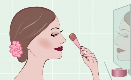 Woman applying rouge while looking in a mirror Vector
