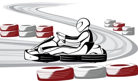 carting: Go-karts en pista de carreras Vectores