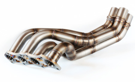 exhaust gases: Car exhaust on white background