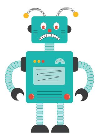 Sad robot cartoon Illustration