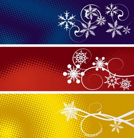 Set of three winter banners Vector