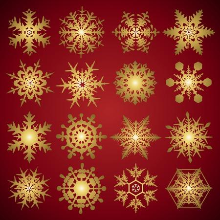 gold crystal gradient snowflakes - vector set Vector
