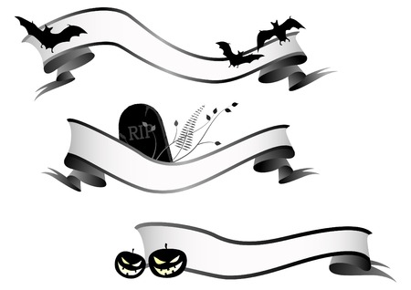 halloween horizontal banners, ribbon Vector