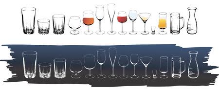 whisky bottle: Vector wine and cognac glasses Illustration