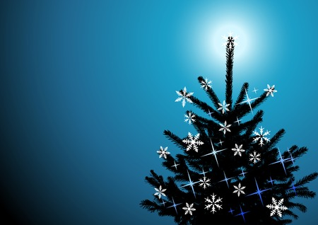 Winter background, christmas tree Vector