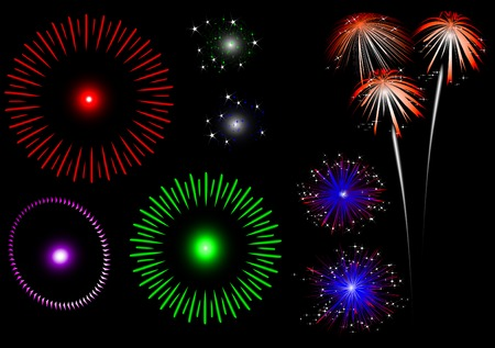 colorful fireworks - set Vector