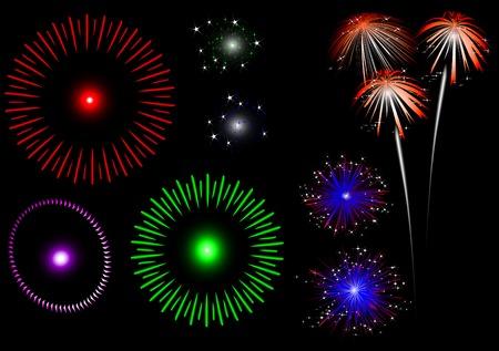 colorful fireworks - set Vector