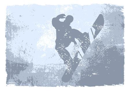 snowboarder: snowboarder - grunge vector Illustration
