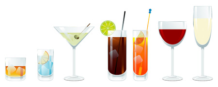 Vector wine and cocktail glasses Vector