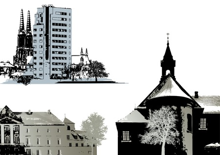 vector set of buildings and church Vector