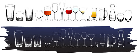 Vector wine and cognac glasses Vector