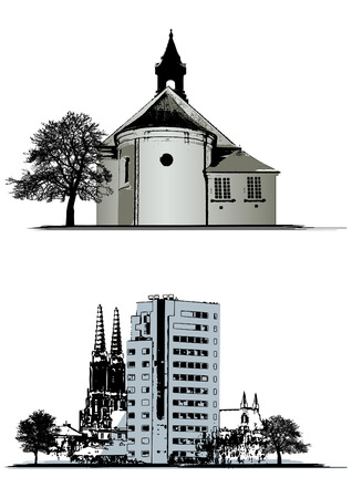 vector set of buildings and church Stock Vector - 4555611