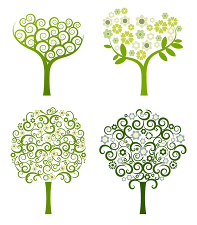 abstract tree with flowers, vector set Illustration