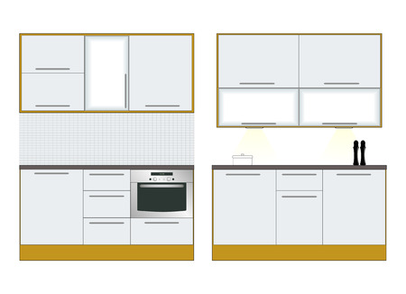 domestic kitchen: Interior. Kitchen furniture. Vector illustration