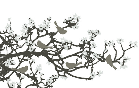 old moon: Floral Background, birds Illustration