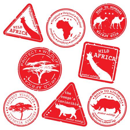 stamp, wild africa, vector set Stock Vector - 4774112
