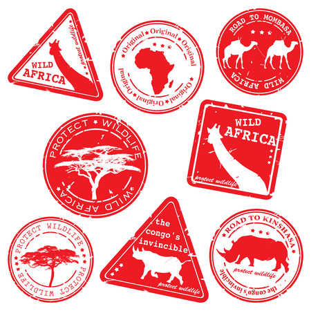 stamp, wild africa, vector set Illustration