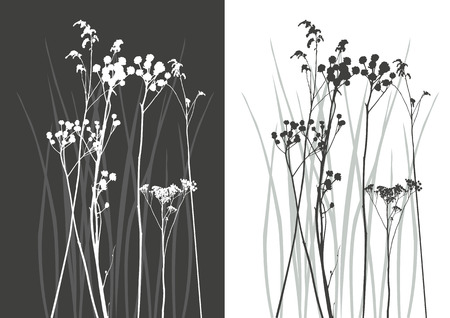 uncultivated: real grass silhouette - vector - two colors